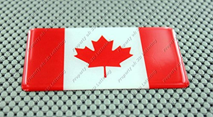 "Canada Flag Raised Clear Domed Lens Decal 4""x 2.5"""