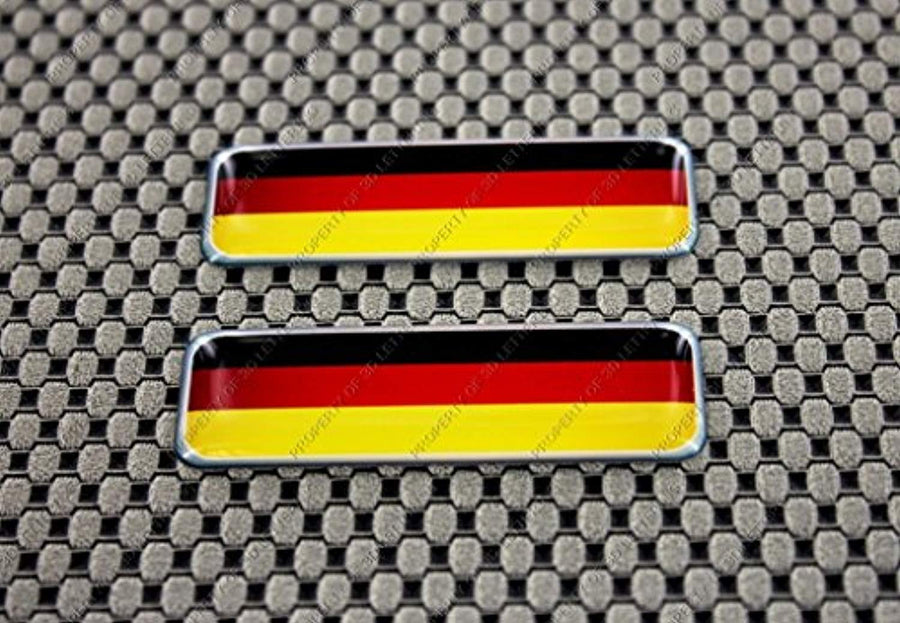 "Germany Flag Raised Clear Domed Lens Decal Set 2.3""x 0.73"""