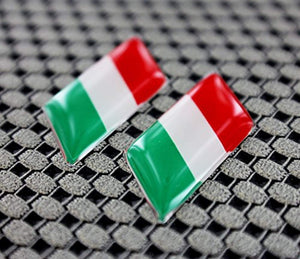 "Italy Flag Chrome Outline Raised Clear Domed Lens Decal Set Slanted 1.3""x 0.5"""