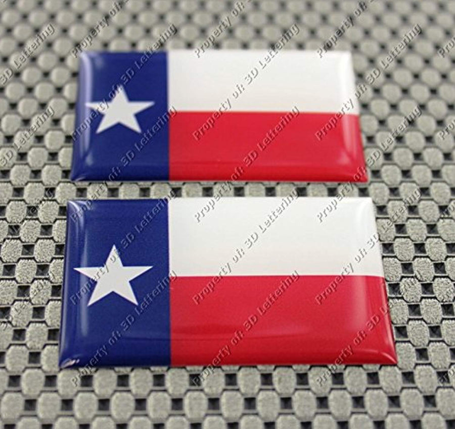 Texas Lone Star Flag Raised Clear Domed Lens Decal Set