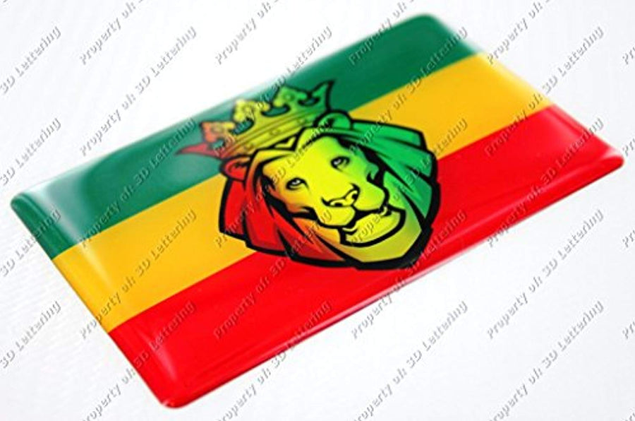 Lion of Judah with Rasta Reggae Bob Marley Flag Raised Clear Domed Lens Decal