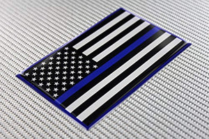 "USA Thin Blue Line Flag Raised Clear Domed Lens Decal 5""x 3.125"""