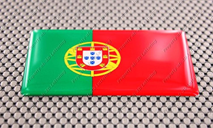 Portugal Flag Raised Clear Domed Lens Decal