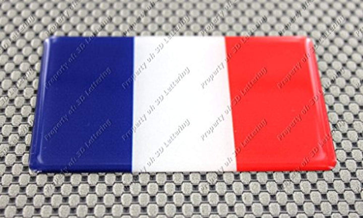 "France Flag Raised Clear Domed Lens Decal 4""x 2.5"""