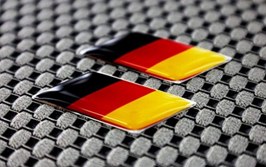 "Germany Flag Raised Clear Domed Lens Decal Set Slanted 1.3""x 0.5"""