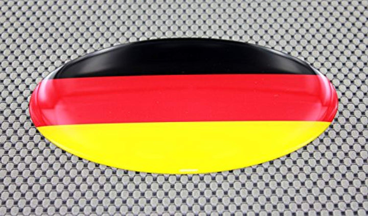 "Germany Flag Raised Clear Domed Lens Decal Oval 6""x 3.5"""
