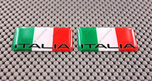 "Italy Italia Flag Raised Clear Domed Lens Decal Mini Set 2""x 1.25"""