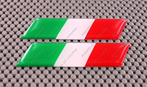 "Italy Flag Raised Clear Domed Lens Decal Slanted Set 3.5""x 1"""