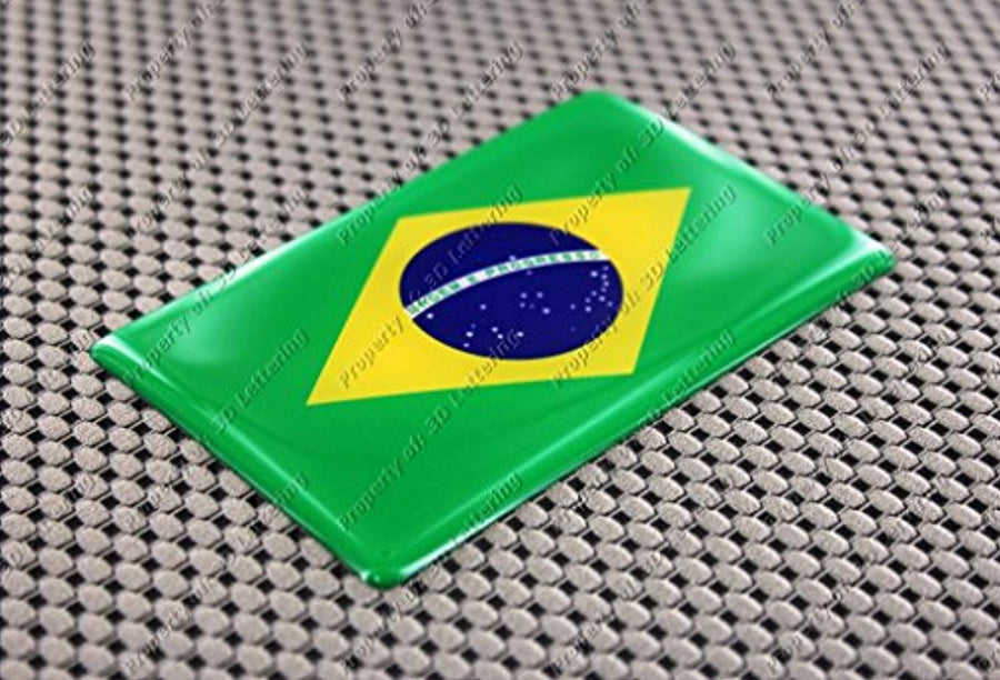 Brazil Flag Raised Clear Domed Lens Decal