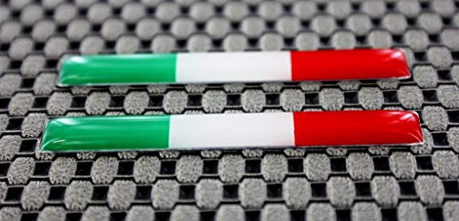 "Italy Flag Chrome Outline Raised Clear Domed Lens Decal Set 2""x 0.25"""