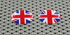 England UK Union Jack Flag Raised Clear Domed Lens Decal Set Round 1""