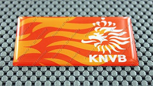 Netherlands Holland Knvb Football Soccer Flag Raised Clear Domed Lens Decal