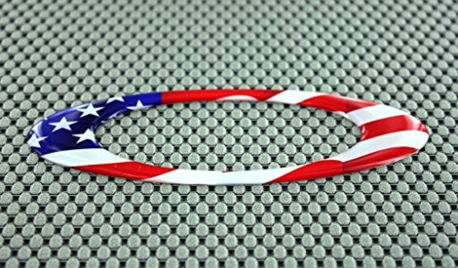 "USA Flag Raised Clear Domed Lens Decal Oval 4.95""x 1.75"""