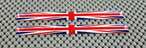 "England Union Jack Flag Raised Clear Domed Lens Decal Set 4"" x 0.5"""