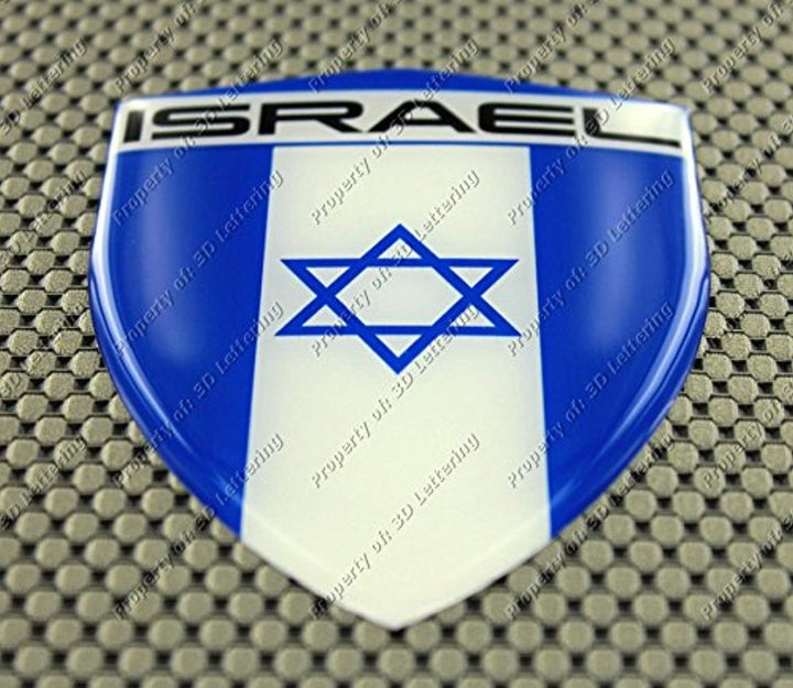 Israel Flag Raised Clear Domed Lens Decal  דגל ישראל