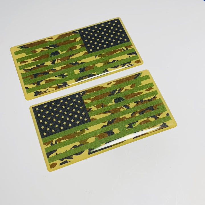 "US Army Camouflage USA Flag Raised Clear Domed Lens Decal Set (Left & Right) 3.25""x 1.75"""