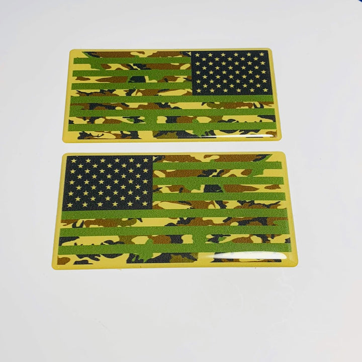 "US Army Camouflage USA Flag Raised Clear Domed Lens Decal Set (Left & Right) 5.5""x 3"""