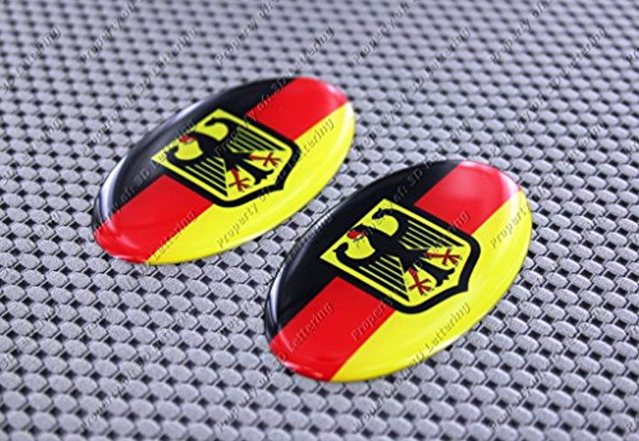 "Germany Flag Crest Raised Clear Domed Lens Decal Set Oval 3""x 1.75"""