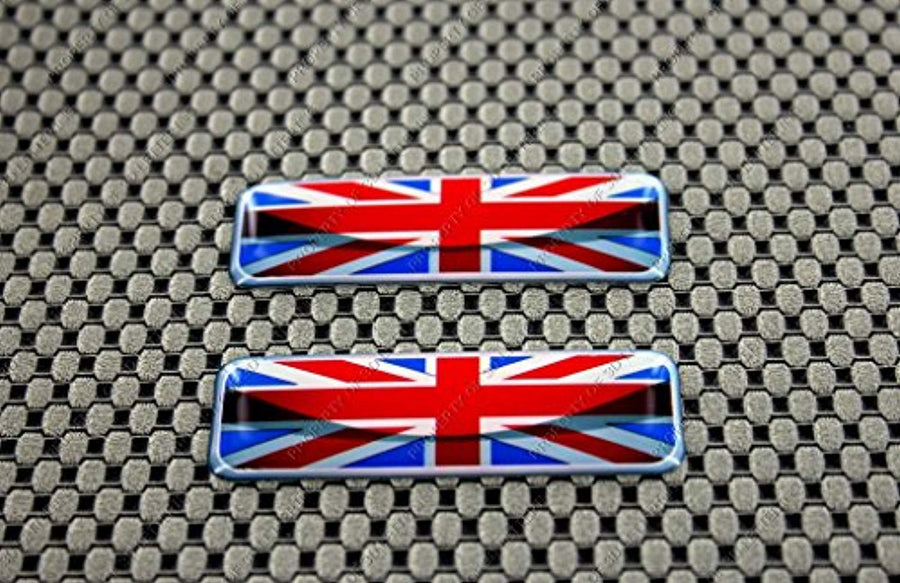 "England Flag Raised Clear Domed Lens Decal Set 2.3""x 0.73"""