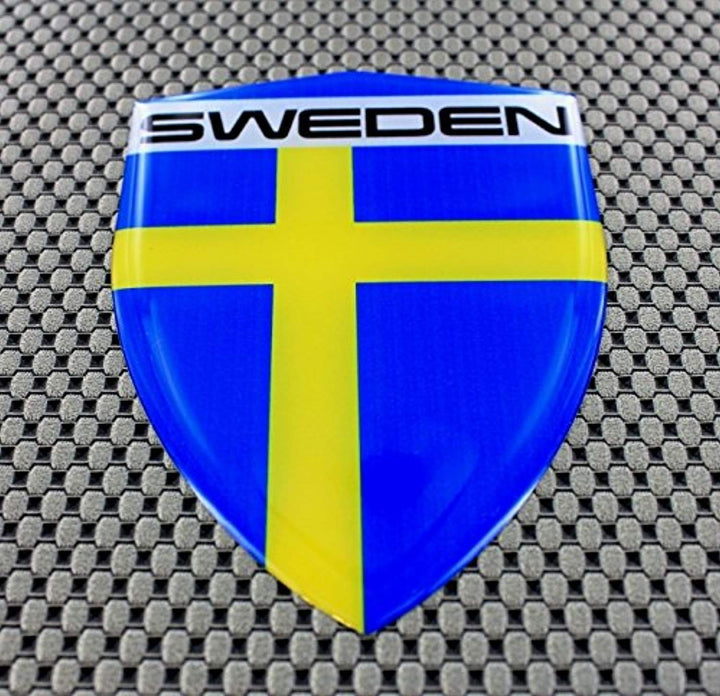 "Sweden Flag Raised Clear Domed Lens Decal 3.2"" x 4.36"""