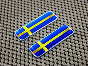 "Sweden Flag Raised Clear Domed Lens Decal Set 2.3"" x 0.73"""