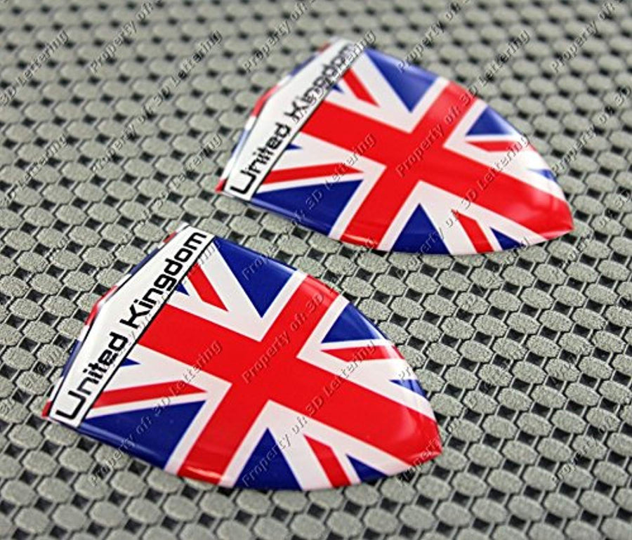 "England Flag Raised Clear Domed Lens Decal Set 2.35""x 1.6"""