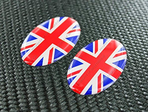 "England UK Union Jack Triumph Flag Raised Clear Domed Lens Decal set Oval 1.9""x 1.15"""