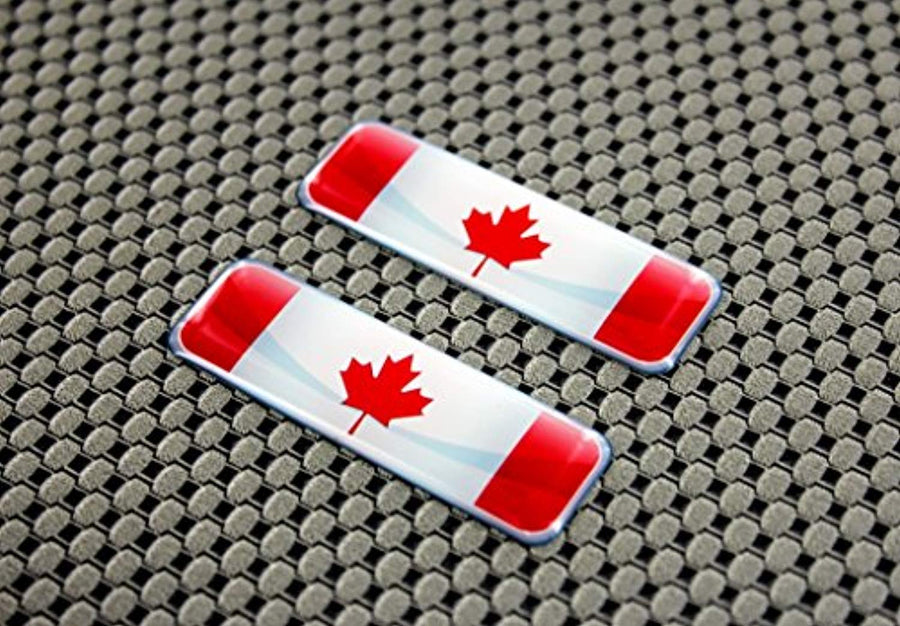 "Canada Flag Raised Clear Domed Lens Decal Set 2.3""x 0.73"""