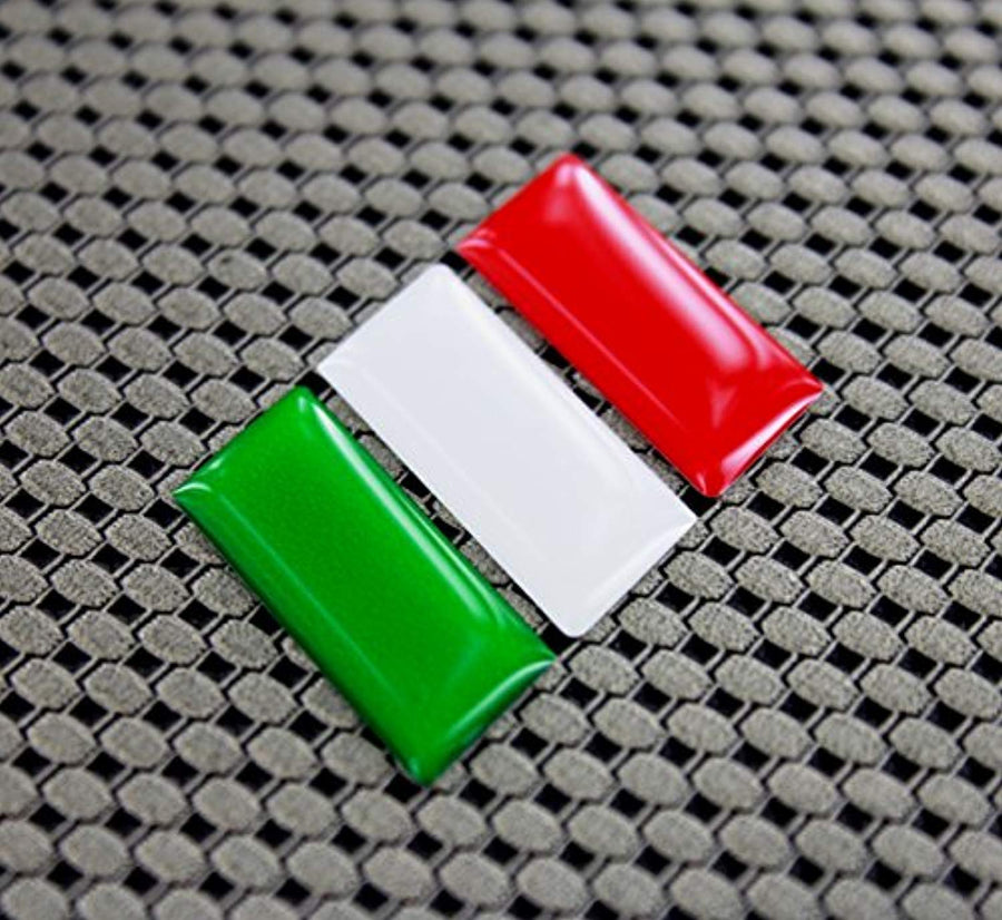"Italy Flag Raised Clear Domed Lens Decal 2.25"" x 1.2"""