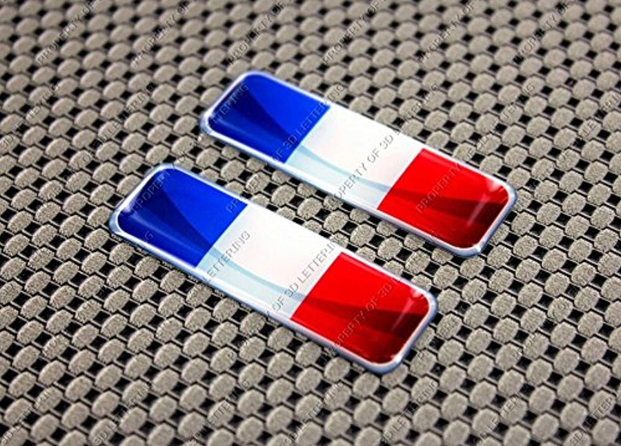 "France Flag Raised Clear Domed Lens Decal Set 2.3""x 0.73"""