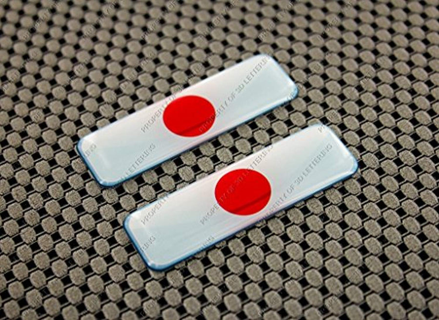Japan  日本  Flag Clear Lens Raised Decal Set