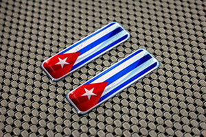 Cuba Flag Raised Clear Domed Lens Decal Set