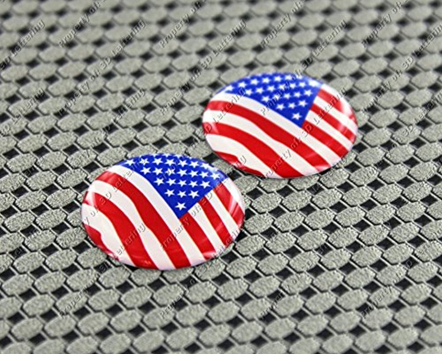 USA Flag Raised Clear Domed Lens Decal Set Round 1""
