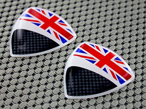 "England Flag Raised Clear Domed Lens Decal Set 1.85""x 1.75"""