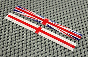 "England Union Jack Flag Raised Clear Domed Lens Decal Set 4""x 0.5"""