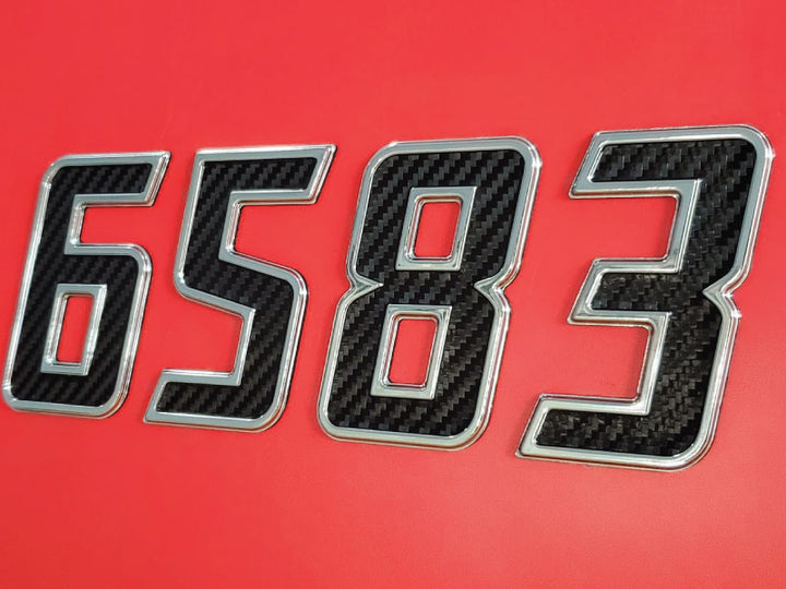 Carbon Fiber Inserted Speed Style 2020 Chrome Emblem Boat & Jet Ski Registration Lettering