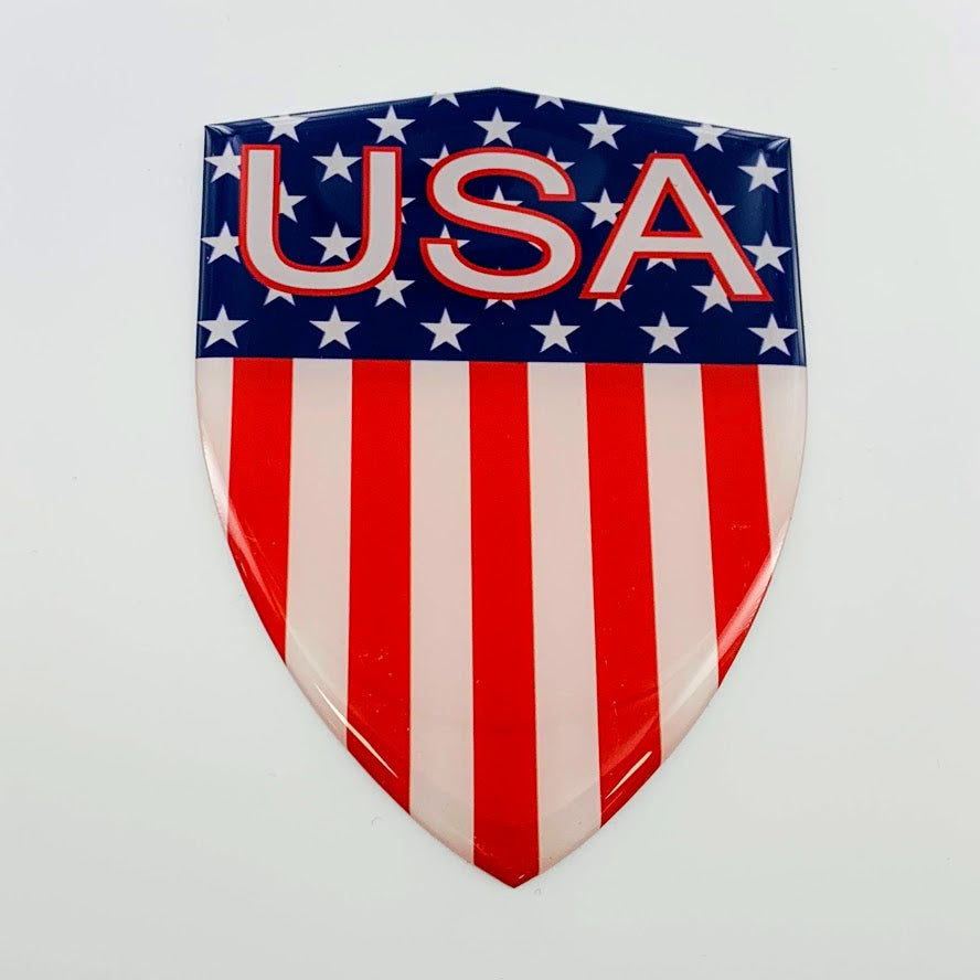 "Stripes USA Flag Raised Clear Domed Lens Decal 3.2""x 4.4"""