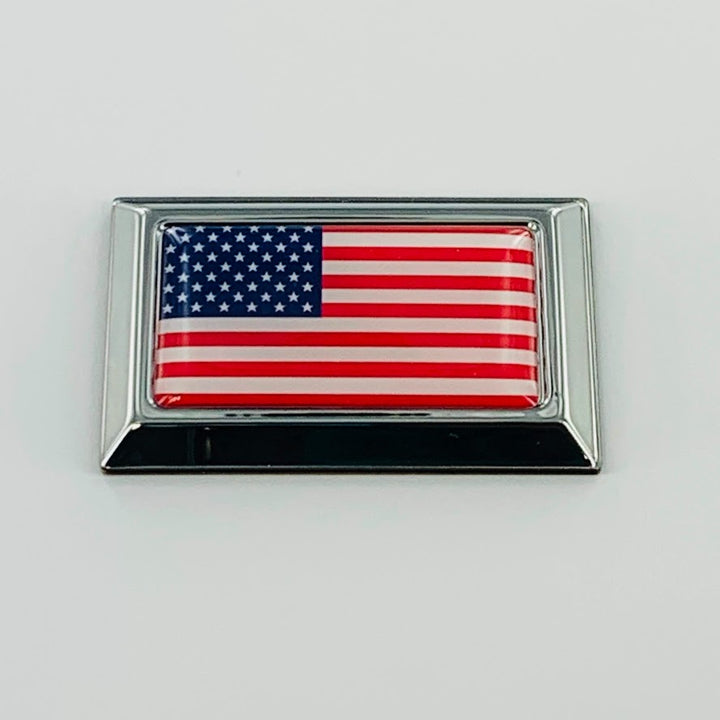 "USA Flag Monochrome Chrome Emblem Badge 2.25"" x 1.40"""