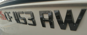 Sport Series Chrome Emblem Boat Registration Numbers 3D Raised
