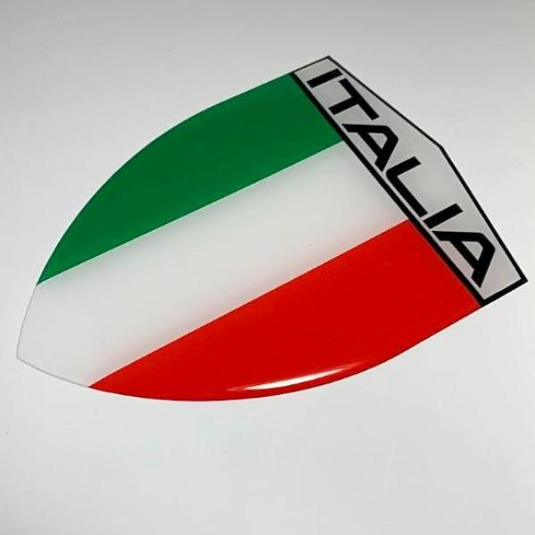 "Italy Italia Flag Raised Clear Domed Lens Decal 3.2""x 4.36"""