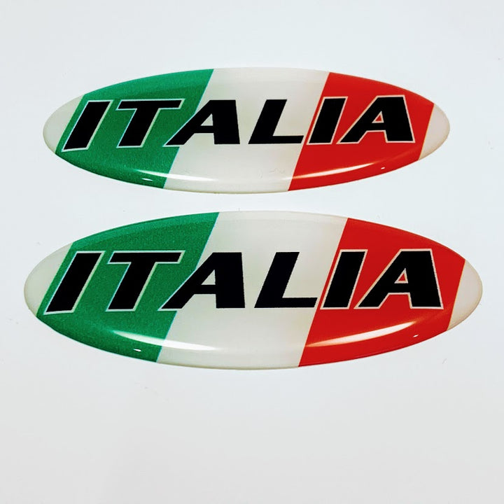 "Italy Italia Flag Raised Clear Domed Lens Decal Set Oval 4""x 1.5"""