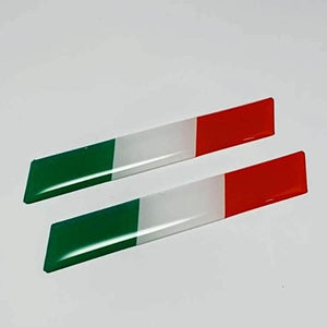 "Italy Flag Raised Clear Domed Decal Set 4""x 0.5"""