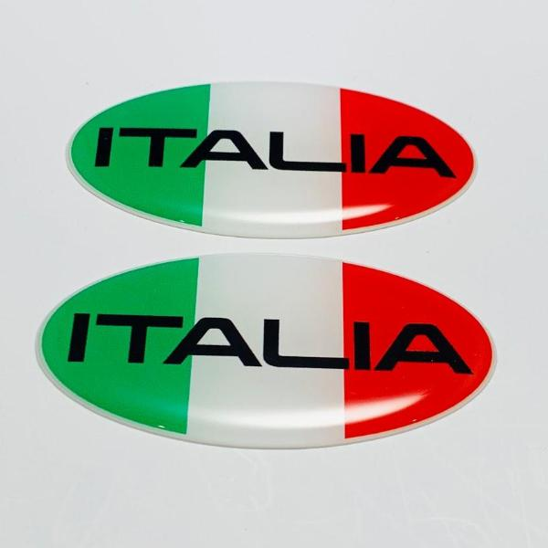 "Italy Italia Flag Raised Clear Domed Decal Oval 2.5""x 1.3"""