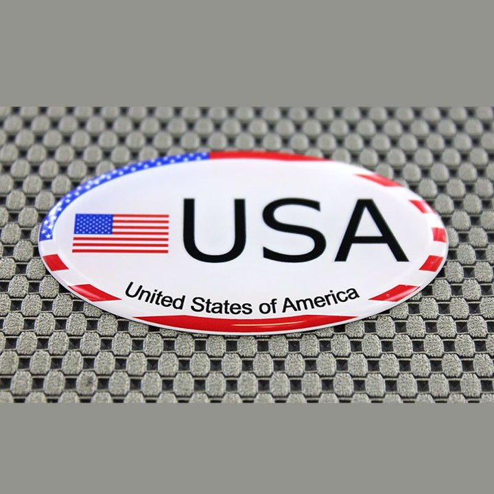 "USA Flag Raised Clear Domed Lens Decal Oval 3""x 1.75"""