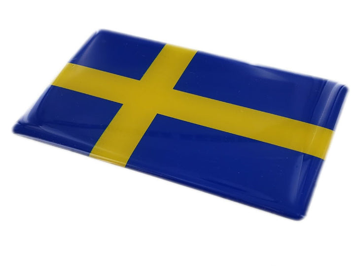 "Sweden Flag Raised Clear Domed Lens Decal 4""x 2.5"""