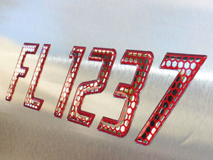 Speed  Series Domed Boat Registration Numbers Red & Chrome