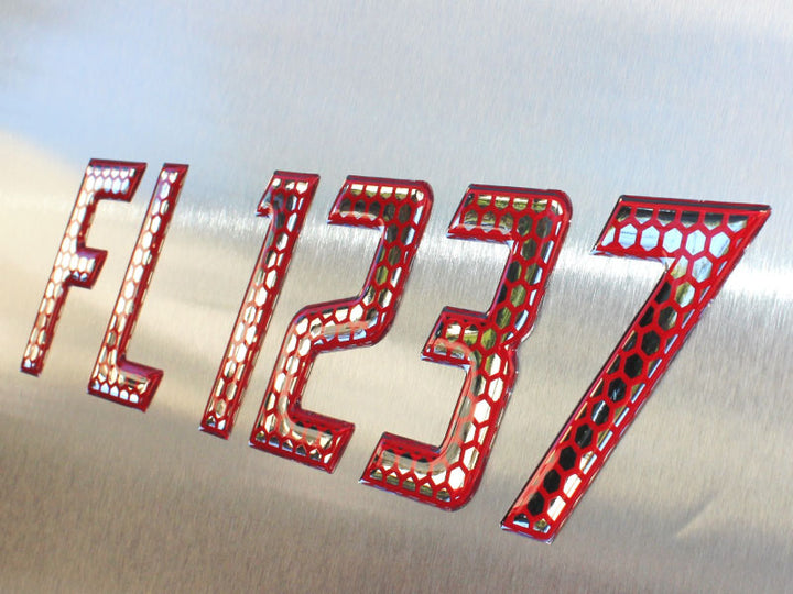 Speed  Series Domed Boat Registration Numbers Red & Chrome RAISED LETTERING 16 PCS KIT