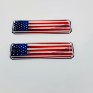 "USA Flag Raised Clear Domed Lens Decal Set 2.3""x 0.73"""