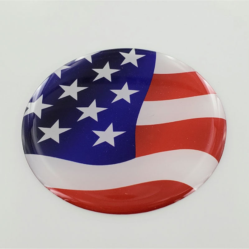 USA Flag Raised Clear Domed Lens Decal Round 2.5""