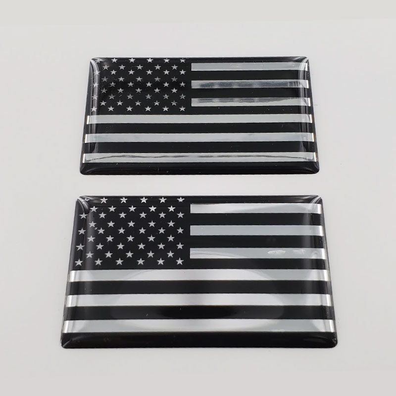 "USA Flag Monochrome Raised Clear Domed Lens Decal Set 2""x 1.3"""